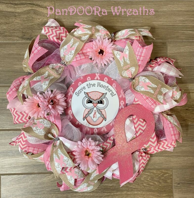 Breast Cancer Awareness Save The Hooters Wreath