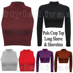 LADIES-POLO-NECK-CROP-TOP-TURTLE-NECK-MINI-CROPPED-TOPS-PLAIN-POLO-NECK-VESTS
