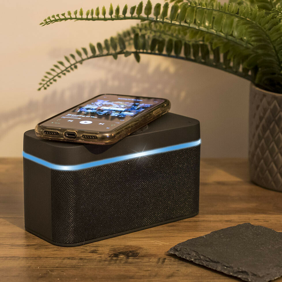 Bluetooth Speaker Portable with Wireless Phone Charger & LED Light, USB Recharge