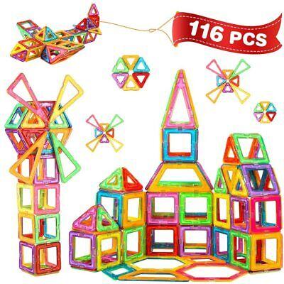 116Pcs Magnetische Bausteine Magnetspielzeug Magnetic Building Baukloetze Set
