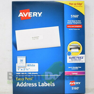 Avery 5160 3000 1 X 2-58 Sure Feed Easy Peel Address Labels White