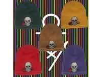 Alphamaker Skull and Rose Beanie Hats