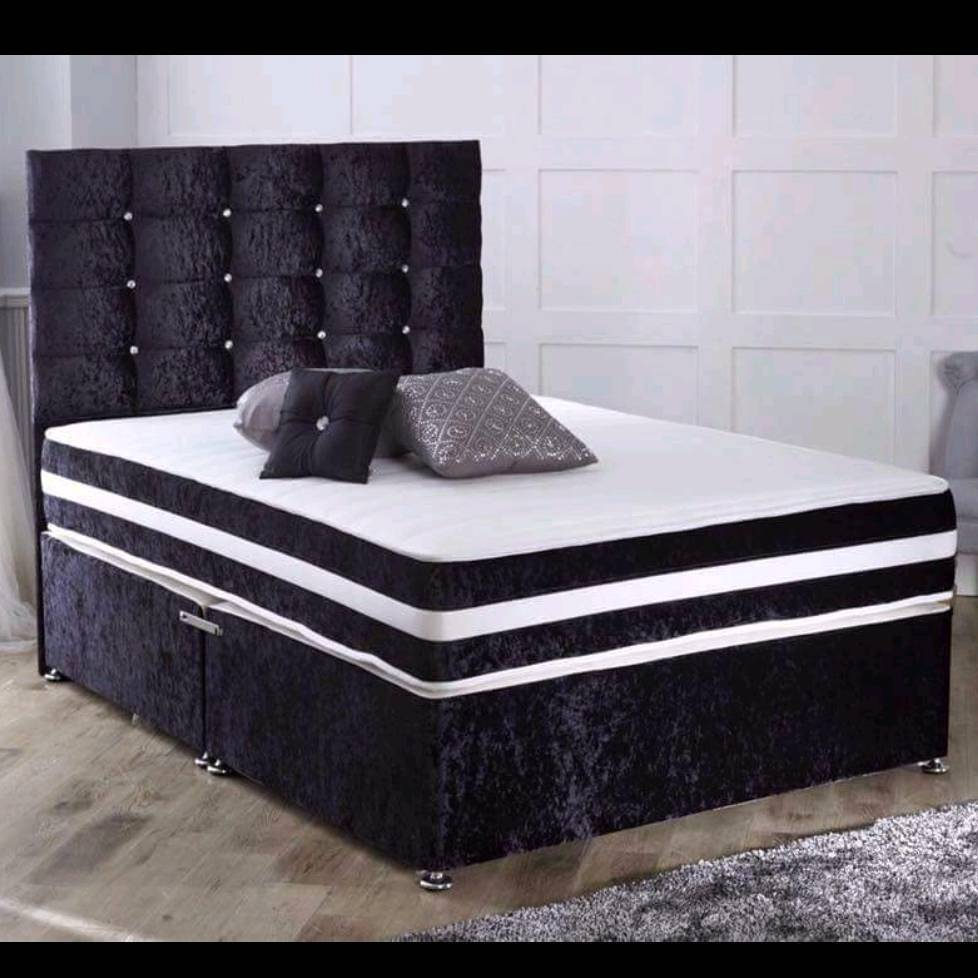 Black crushed velvet bed.