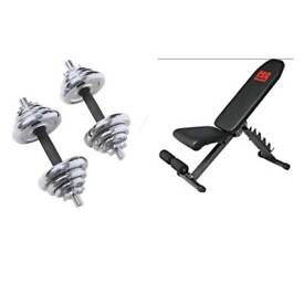 PRO POWER UTILTY BENCH WITH 20KG CHROME DUMBELL SET (BRAND)