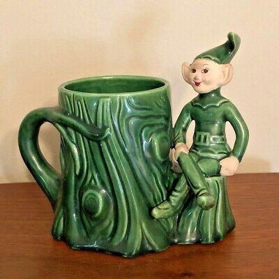 Vintage Pixie Planter Pot Flower Holder Tree Stump Whimsical Ceramic Elf Sprite