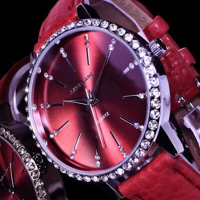 Excellanc Uhr Damenuhr Armbanduhr Rot SIlber Farben Strass
