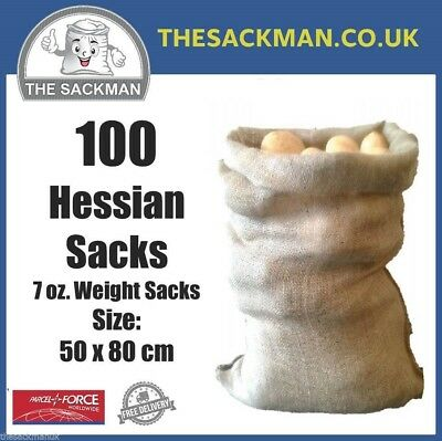 100 Hessian Sacks Size 50x80cm Jute Potato Storage Crop Sacks, Burlap Sandbags