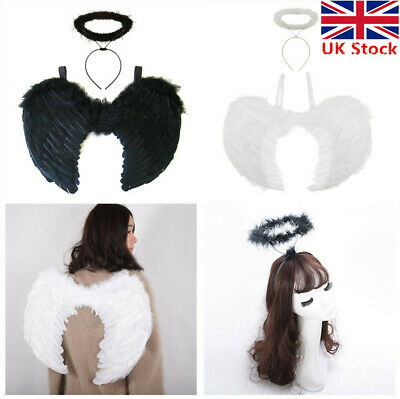 White Black Angel Fairy Wing and Halo Fancy - Black Angel Kostüm Uk
