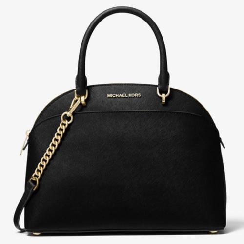 Michael Kors Emmy Large Cindy Dome Black Saffiano Crossbody Satchel Bag