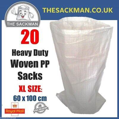 20 Extra Large Woven Polypropylene PP Rubble Sacks Heavy Duty Size 60 x 99cm XL