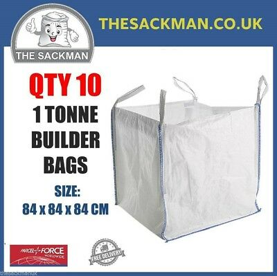 QTY 10 FIBC 1 TONNE BULK BAGS, BUILDERS 84x84x84cm SACK, WASTE Aggregate Bag PP