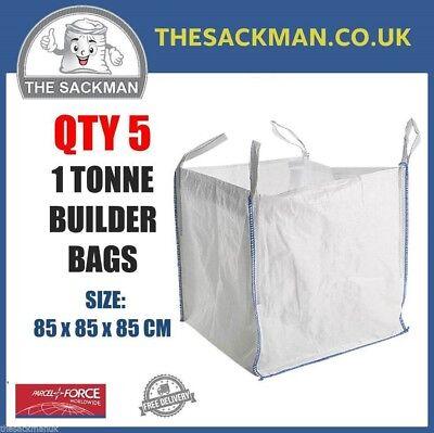 QTY 5 FIBC 1 TONNE BULK BAGS, BUILDERS 85x85x85cm SACK, WASTE Aggregate Bag PP