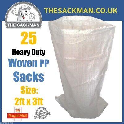 QTY 25 2ft x 3ft Woven Polypropylene Rubble Sacks LARGE Rubble Sacks WPP Waste