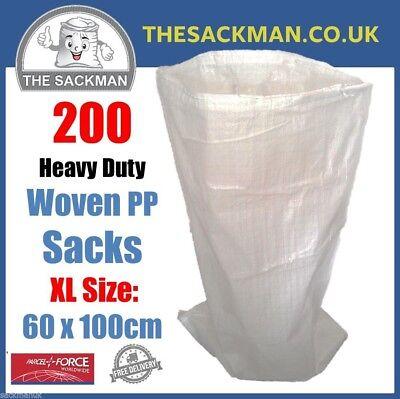 200 Extra Large Woven Polypropylene Rubble Sacks Heavy Duty Size 60 x 100cm XL