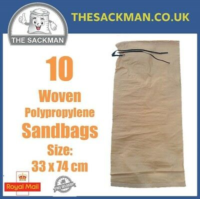 10 Woven Polypropylene Sandbags Size: 34x74cm with Tie String Light Beige Sacks