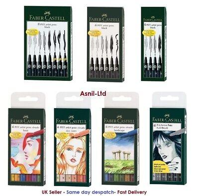 Faber Castell Pitt Pens Set of 4,6,8 Pens : Black,Basic,Landscape,skin tone,grey