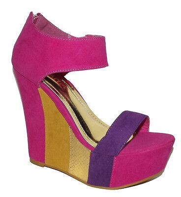 New Pink Fuchsia Multicolors Open Peep Toe Wedge Platform High Heel Strappy Shoe