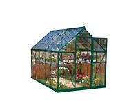 New Palram Harmony 6x10 Green Greenhouse - Clear Polycarbonate, Aluminum Frame, Base Included RRP549