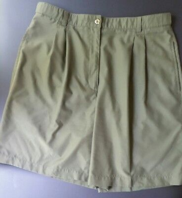 LIZGOLF High Waist 100% Polyester Olive Green Casual Walking Shorts Sz 14
