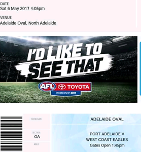 Port Adelaide v/s West Coast Eagles $30 for sale  Wayville