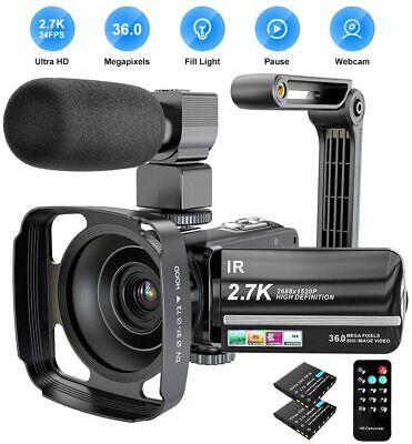 Video Camera Camcorder 2.7K Ultra HD YouTube Vlogging Camera 36MP IR Night Visio