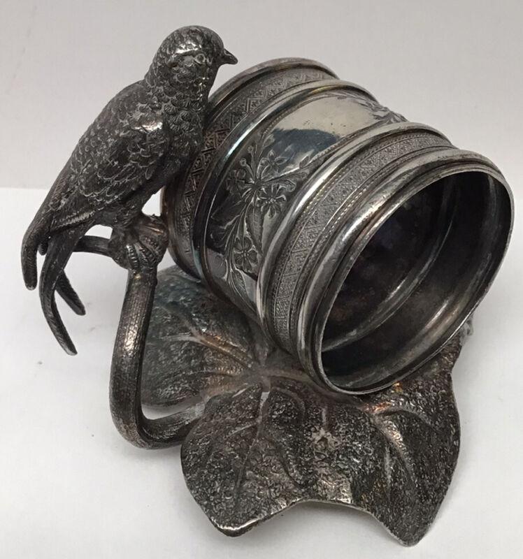 Antique Victorian Detailed Bird Figural Meridian Silver Plate Napkin Ring Holder