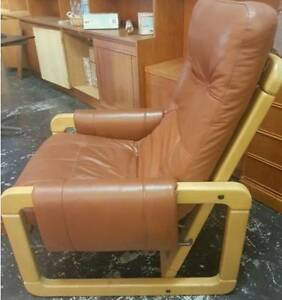 Mid Century Leather Armchair Vintage Danish Design Tan Brown $120 Fitzroy Yarra Area Preview