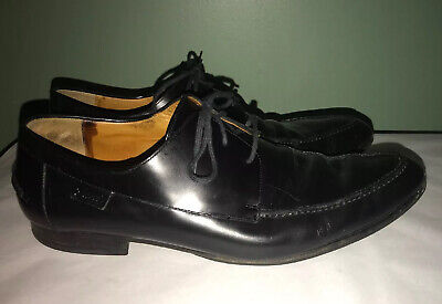 Mens Vtg GUCCI Black Leather Pointed Toe Oxfords Dress Shoes sz 11.5 D Italy