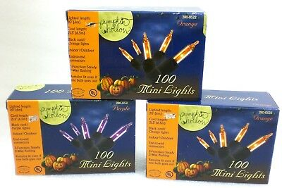 Pumpkin Hollow Halloween Lights  3 BOXES, 2 Orange, 1 Purple   300 Lights total - Purple Orange Halloween Lights