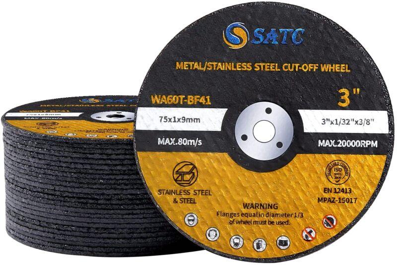 "25 Pack 3""x1/32""x3/8"" Ultra Thin Cut Off Wheels Die Grinder Metal Cutting Disc"