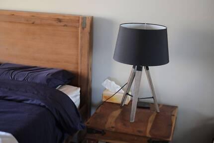 Two beautiful modern wooden tripod lamps