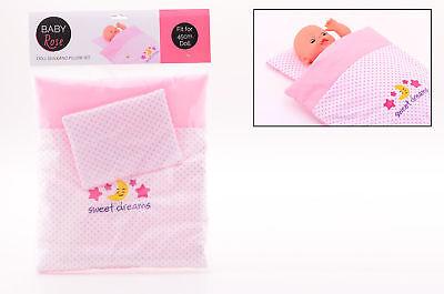 Rose Bettdecke (Puppe Bettdecke mit Kissen Rosa Zubehör Baby Rose z.B. für Baby Born 45 cm Doll)