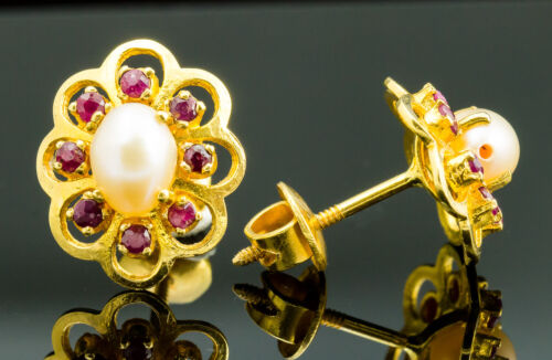 Vintage 22K Yellow Gold Pearl and Ruby Earrings