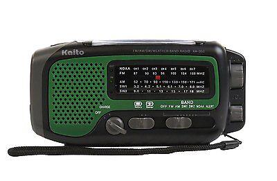 Kaito Ka350 Solar Crank Am Fm Shortwave Weather Radio Green