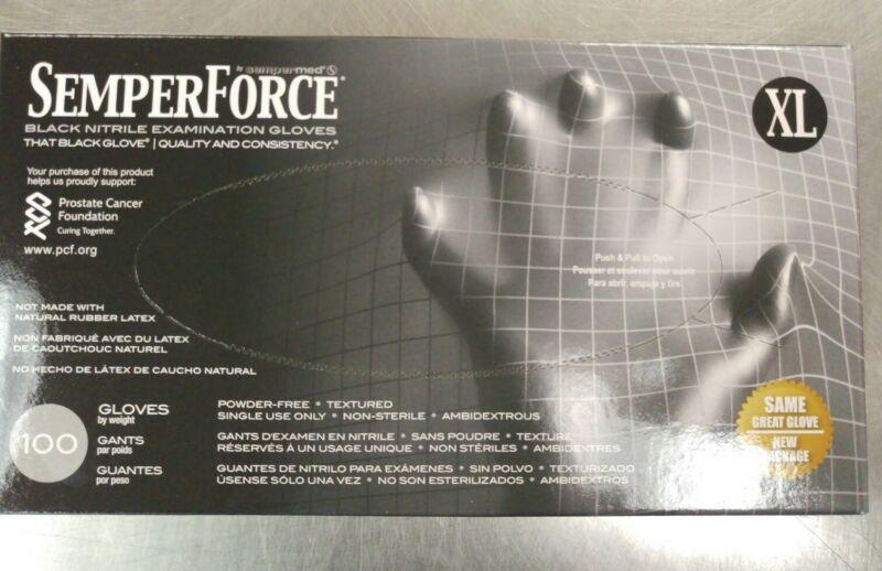 Semperforce Black Nitrile Disposable Gloves Tattoo X-LRG Janitor Mechanic- 1 Bx