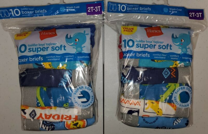 20 Pairs Hanes Toddler Tagless Boxer Briefs 2T-3T 2 packs