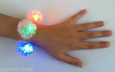 LIGHT UP LED SNOWFLAKE BRACELET Sticky Rubber Flashing Balls Kids Toy Battery  - Light Up Rubber Balls