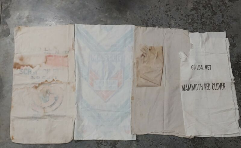 Lot of 5 Vintage Antique Worn Soft Canvas Feed Sacks Bags Flour Fabric Feed Mix
