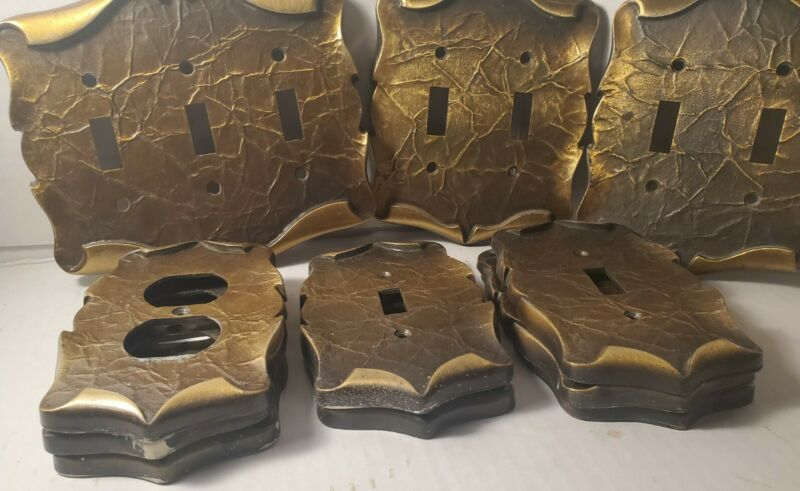 Lot of 11 Amerock   Carriage House Outlet Cover Plates MCM Bronze Brass Scroll