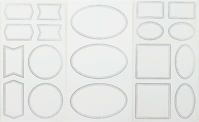 Blank Sticker Labels 190 Ct Total White Silver Border Assorted Oval Square Round