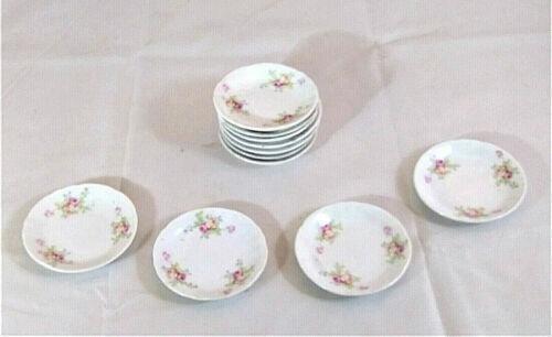 "10 Vintage Warwick China Butter Pats, 3"", White w Pink & Yellow Roses"