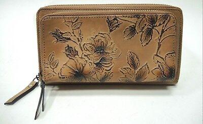 NWT Firenze Bella Tooled Genuine Leather Double Zip around Wallet RFID Block - Firenze Double Billfold