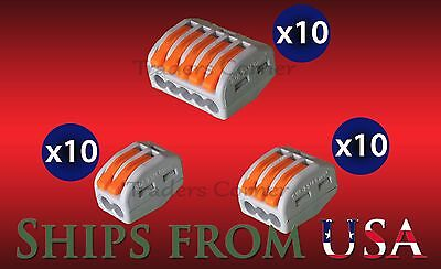 30 Pk Assrtd Wago Style Lever Nuts Splicing Connector Terminal Block Cage Clamp