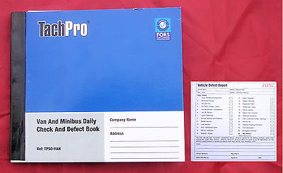Tachpro 50 Page Drivers Daily Duplicate Defect & Check Book for VAN & MINIBUS