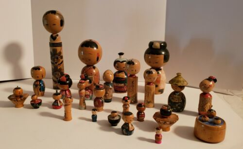 VINTAGE WOODEN KOKESHI DOLLS - LOT OF 26 - VARIOUS SIZES & COLORS