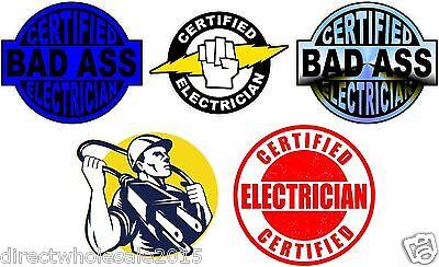 Lot of (5) Electrician Helmet Stickers decal Art Wall Vinyl Sticker Decals Decor ()