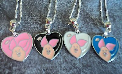 GIRLS SILVER ENAMEL PIGLET HEART CHARM-  4 COLS AVAIL PENDANT,FREE POST IN (Piglet Heart Charm)