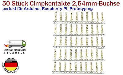 50 Stück 2,54mm Buchse JR Crimpkontakte für 22-28AWG Kabel für Arduino DIY