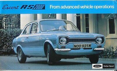 Ford Escort RS 2000 Mk 1 1973-75 Original UK Market Single Sheet Sales Brochure