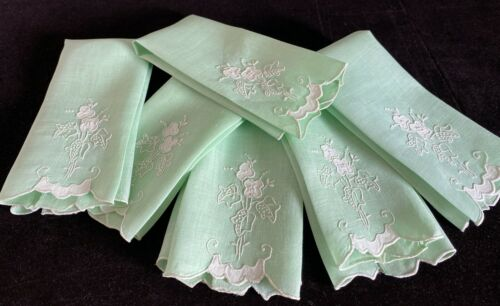 6  Vintage Antique Linen Towels With Embroidery Scalloped Edges Applique   WW88